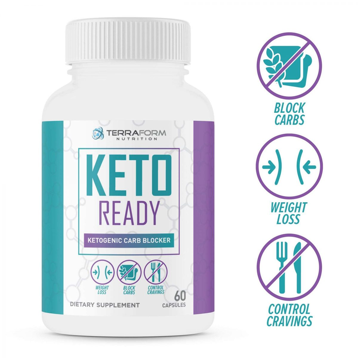 Keto Ready - Max Strength Keto Carb Blocker 1200mg – 60 Capsules - TerraForm Nutrition-0