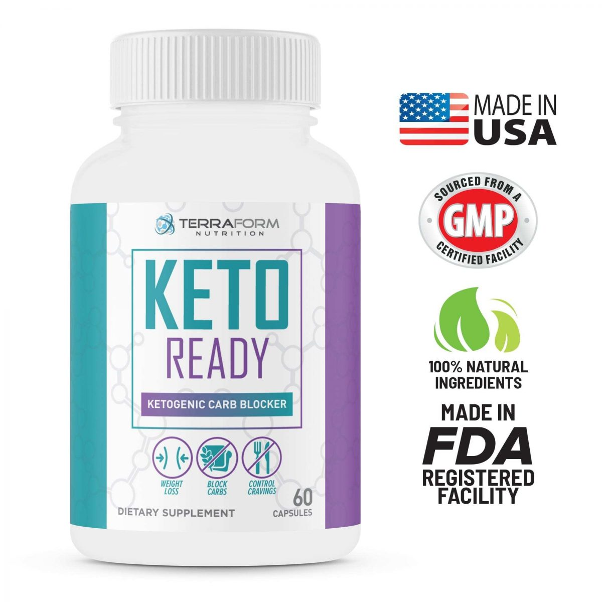Keto Ready - Max Strength Keto Carb Blocker 1200mg – 60 Capsules - TerraForm Nutrition-3321