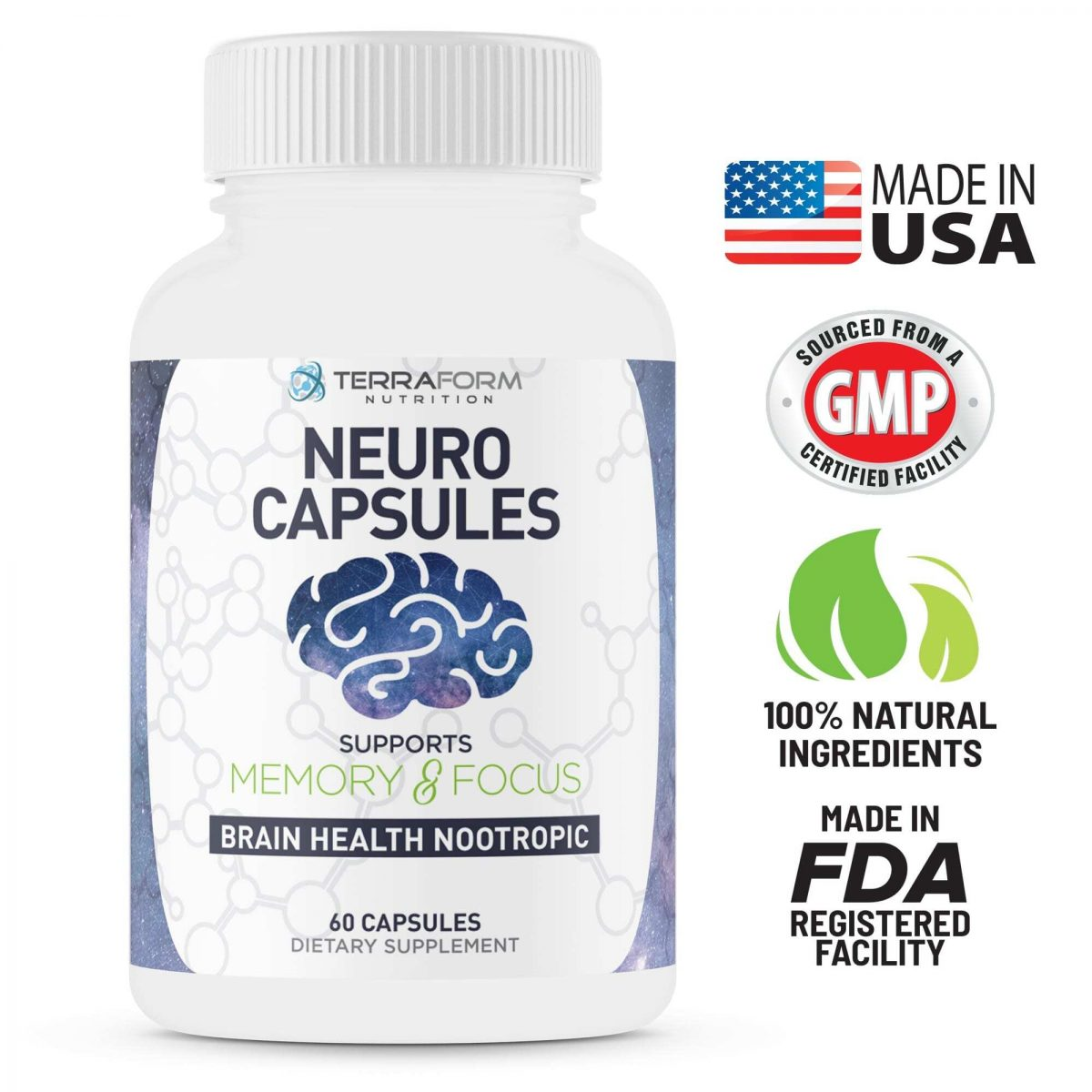 Powerful Nootropics – Neuro Capsules - 60 Capsules - TerraForm Nutrition-3337