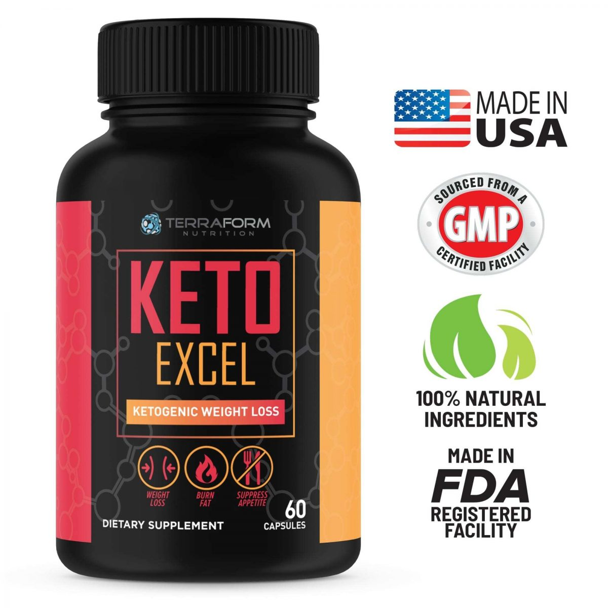 Keto Excel – Powerful Keto Diet Weight Loss Supplement – 60 Capsules - TerraForm Nutrition-3359