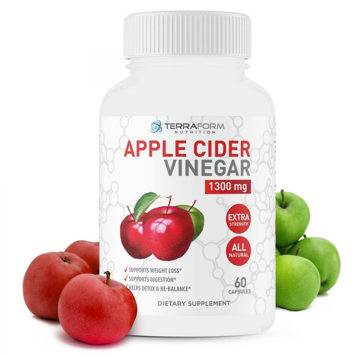 Apple Cider Vinegar 1300mg – 60 Capsules - TerraForm Nutrition-0
