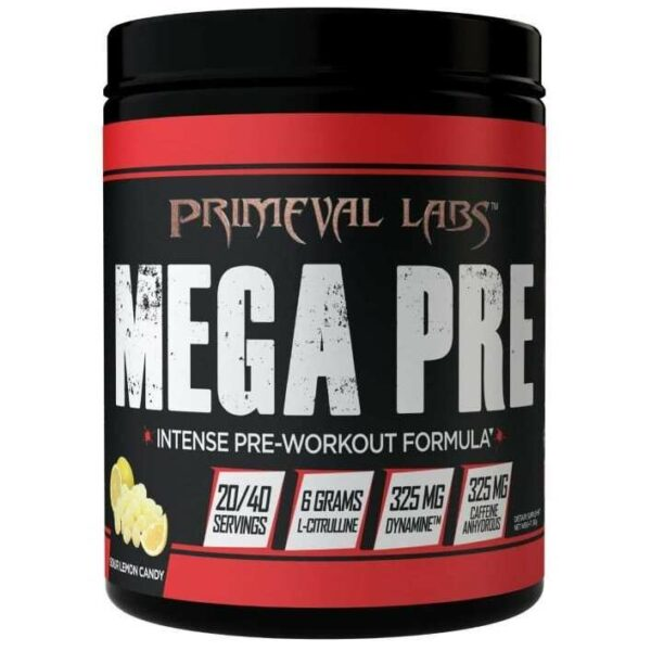 Primeval Labs Mega Pre Black - Sour Lemon Candy - 20/40 Servings-0