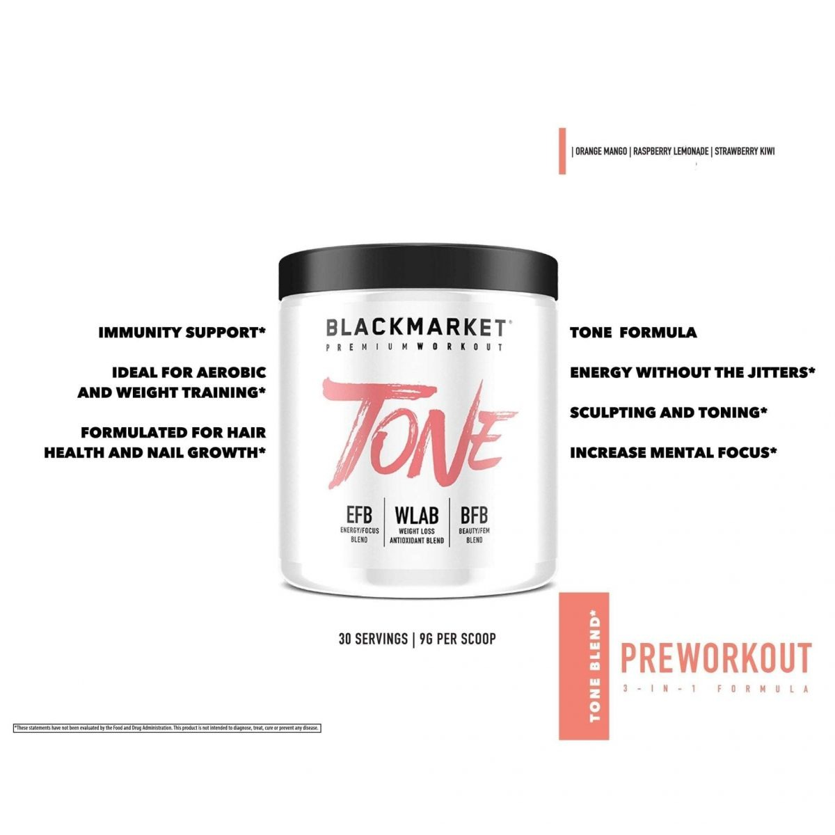Tone - Women's Pre Workout - Raspberry Lemonade - 30 Servings By Blackmarket Labs-3590
