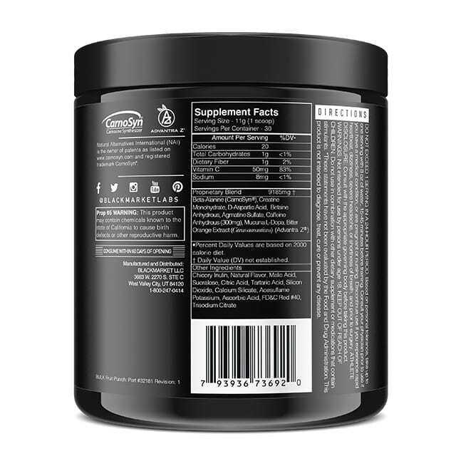 Bulk - Pre Workout - Fruit Punch - 30 Servings By Blackmarket Labs-3560