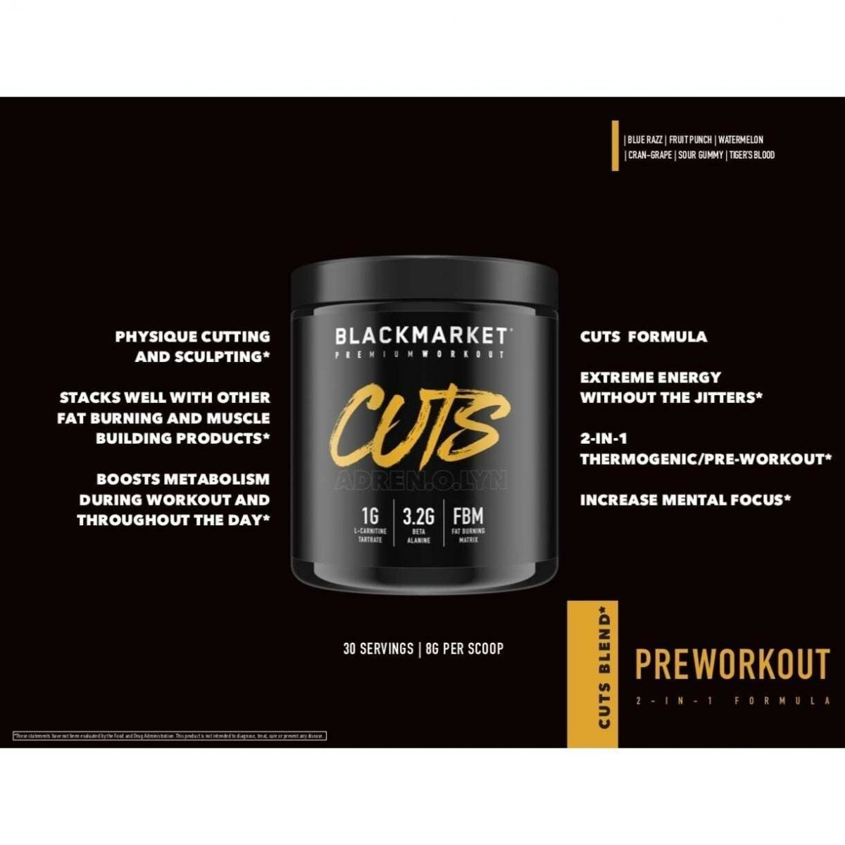 Adrenolyn Cuts - Pre Workout - Tiger's Blood - 30 Servings By Blackmarket Labs-3556
