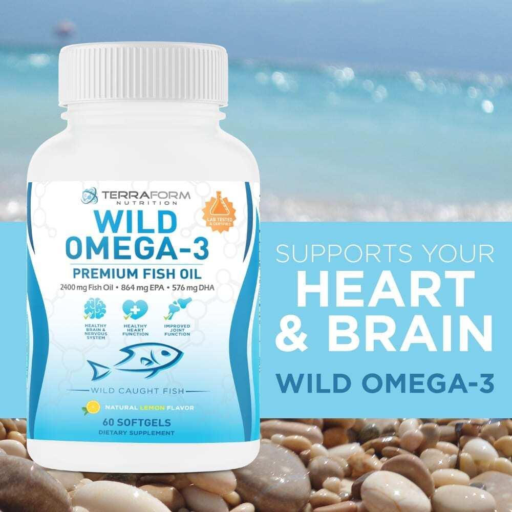 Wild Omega 3 Fish Oil 2400mg - 60 Capsules-3631