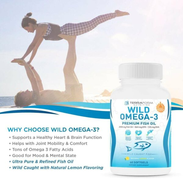 Wild Omega 3 Fish Oil 2400mg - 60 Capsules-3633