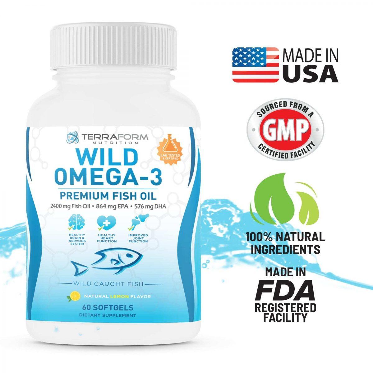 Wild Omega 3 Fish Oil 2400mg - 60 Capsules-3628