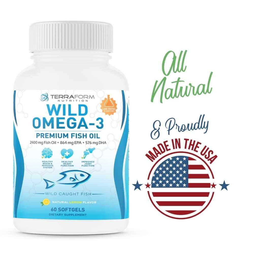 Wild Omega 3 Fish Oil 2400mg - 60 Capsules-3632