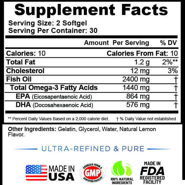 Wild Omega 3 Fish Oil 2400mg - 60 Capsules-3634