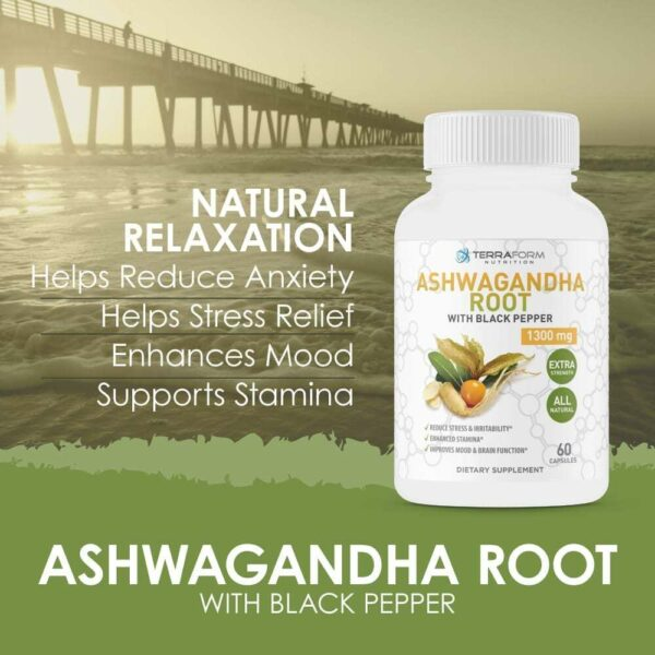 Pure Ashwagandha Root with Black Pepper – 1300mg – 1 Month Supply-3647