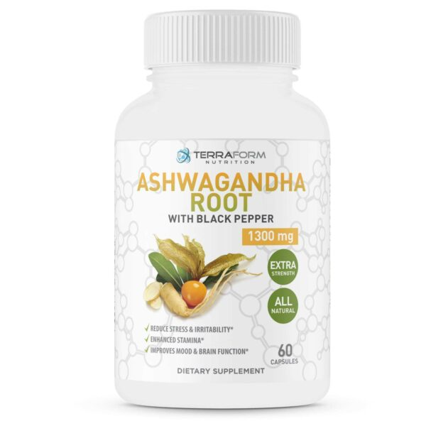 Pure Ashwagandha Root with Black Pepper – 1300mg – 1 Month Supply-3641